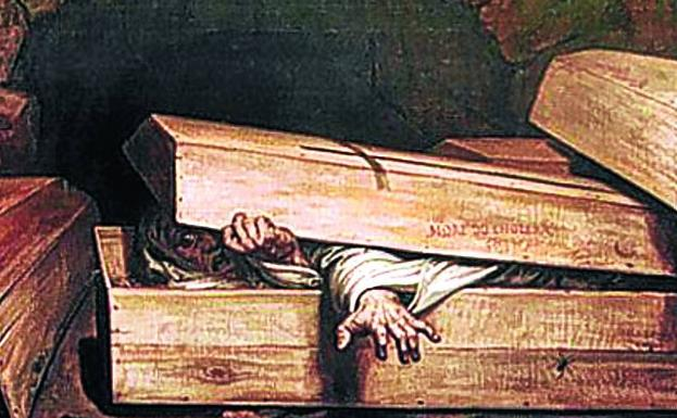 Ilustración de 'El entierro prematuro de Poe'