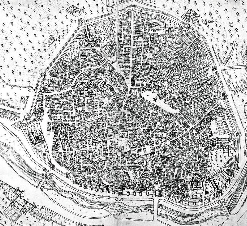 Plano de 1608. Plano de Valencia de Mancelli donde se observan las puertas de la ciudad./LP