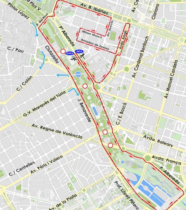 Calles cortadas el sábado y el domingo por la celebración de la 10K Valencia Ibercaja 2018