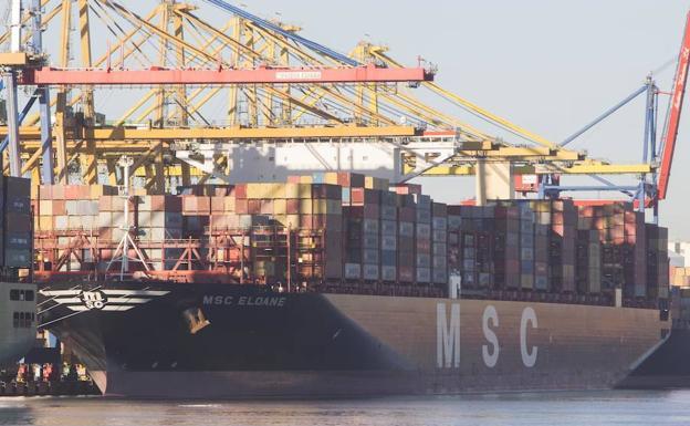 El buque Eloane de MSC atracado en el puerto de Valencia./Damián Torres