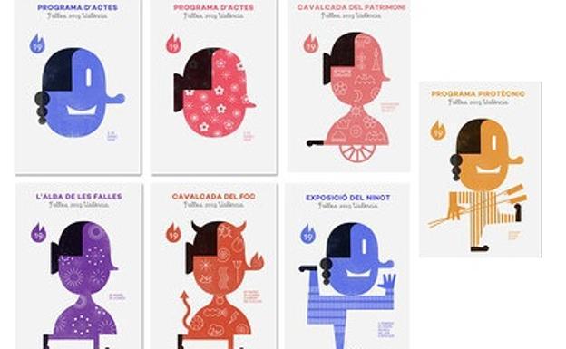 Todas las versiones del cartel de las Fallas 2019.
