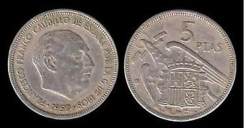 5 pesetas de 1957, los famosos 'duros'.