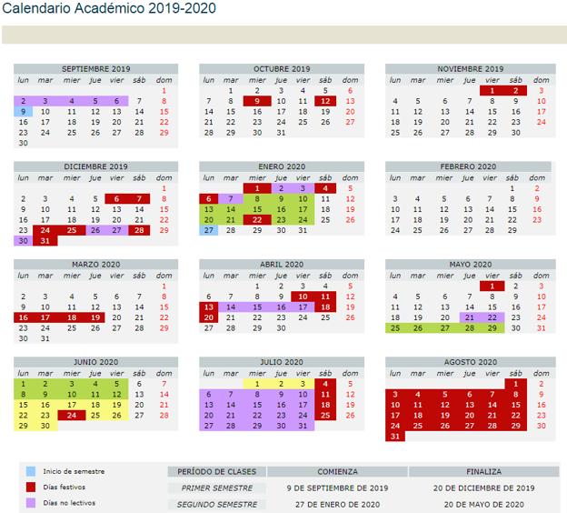Mundial Rusia 2020 Calendario.Calendario Universitario Del Curso 2019 2020 Cuando Empiezan Las