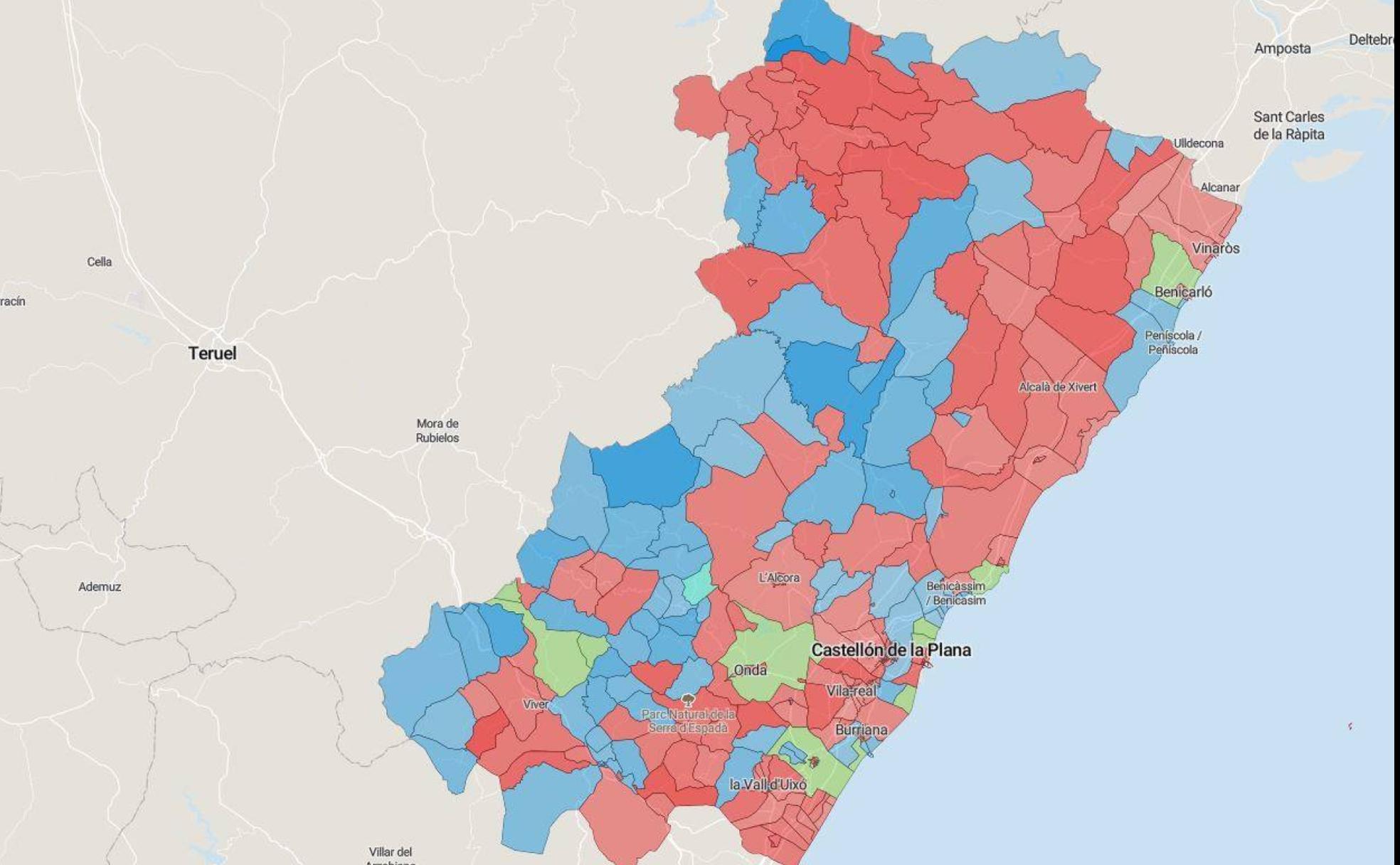 Mapa Del Resultado De Las Elecciones Del 10n En Castellon Por