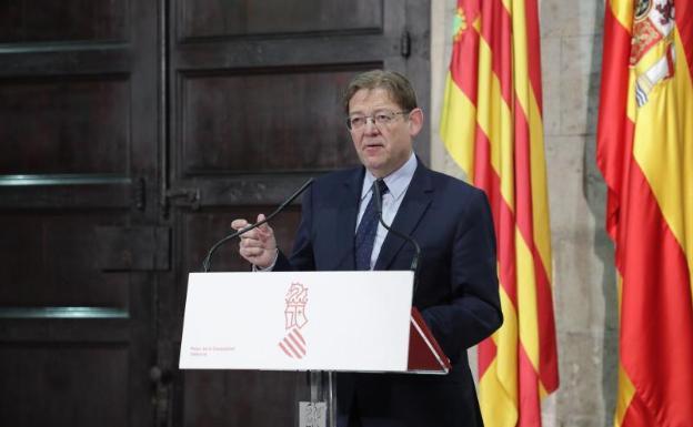 Ximo Puig, presidente de la Generalitat, durante una comparecencia.