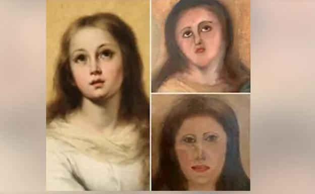Imagen de la obra original (izquierda) y el resultado tras las dos intervenciones/EP/Cedida por coleccionista