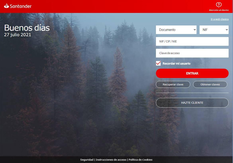 Página web falsa del banco.